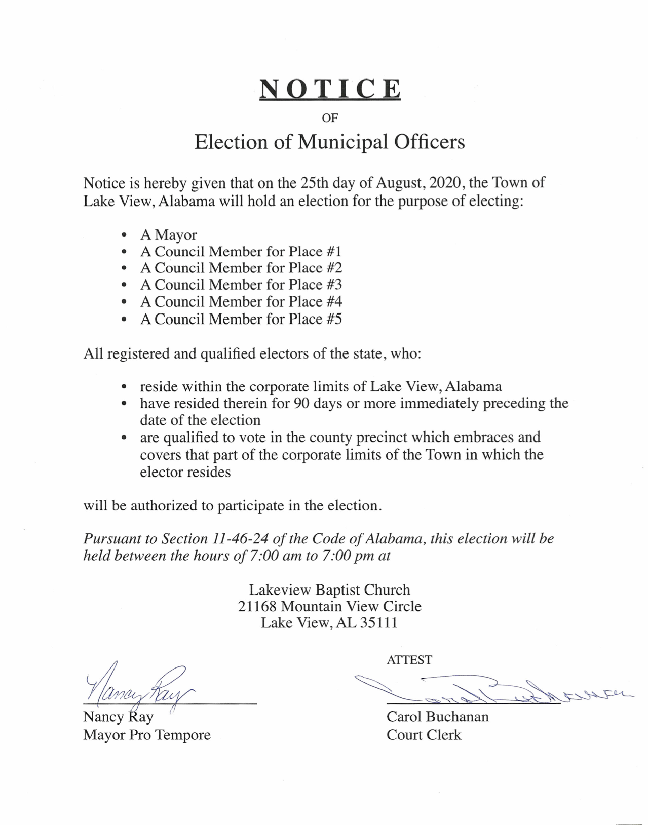 Notice of Election 2020>